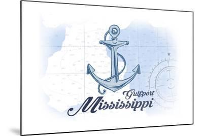 Gulfport, Mississippi - Anchor - Blue - Coastal Icon-Lantern Press-Mounted Art Print