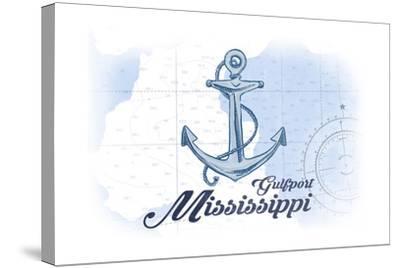 Gulfport, Mississippi - Anchor - Blue - Coastal Icon-Lantern Press-Stretched Canvas Print