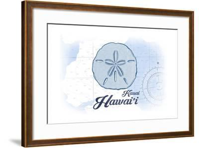 Kauai, Hawaii - Sand Dollar - Blue - Coastal Icon-Lantern Press-Framed Art Print