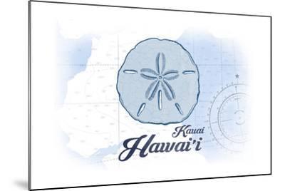 Kauai, Hawaii - Sand Dollar - Blue - Coastal Icon-Lantern Press-Mounted Art Print