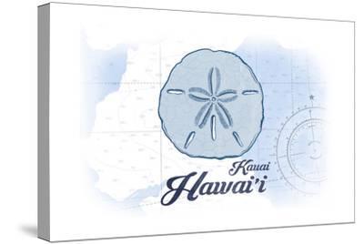 Kauai, Hawaii - Sand Dollar - Blue - Coastal Icon-Lantern Press-Stretched Canvas Print