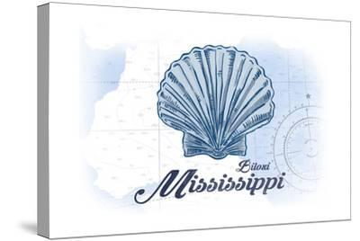 Biloxi, Mississippi - Scallop Shell - Blue - Coastal Icon-Lantern Press-Stretched Canvas Print