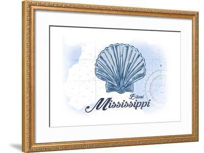 Biloxi, Mississippi - Scallop Shell - Blue - Coastal Icon-Lantern Press-Framed Art Print