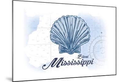 Biloxi, Mississippi - Scallop Shell - Blue - Coastal Icon-Lantern Press-Mounted Art Print