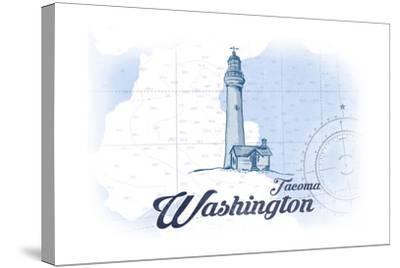 Tacoma, Washington - Lighthouse - Blue - Coastal Icon-Lantern Press-Stretched Canvas Print