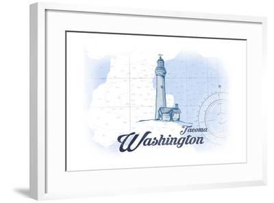 Tacoma, Washington - Lighthouse - Blue - Coastal Icon-Lantern Press-Framed Art Print