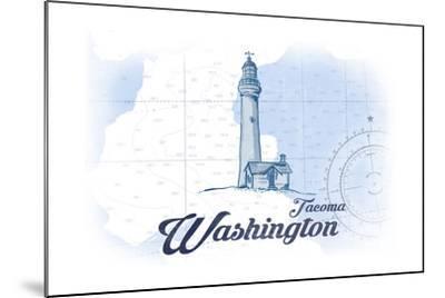 Tacoma, Washington - Lighthouse - Blue - Coastal Icon-Lantern Press-Mounted Art Print