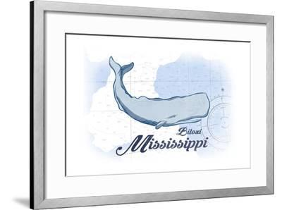 Biloxi, Mississippi - Whale - Blue - Coastal Icon-Lantern Press-Framed Art Print