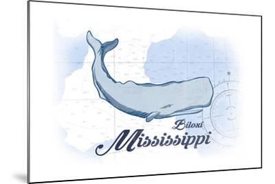 Biloxi, Mississippi - Whale - Blue - Coastal Icon-Lantern Press-Mounted Art Print