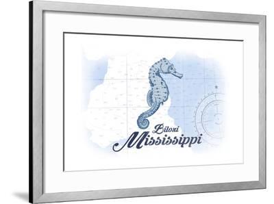 Biloxi, Mississippi - Seahorse - Blue - Coastal Icon-Lantern Press-Framed Art Print