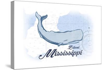 Biloxi, Mississippi - Whale - Blue - Coastal Icon-Lantern Press-Stretched Canvas Print