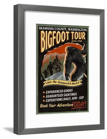 Skamania County, Washington - Bigfoot Tours - Vintage Sign-Lantern Press-Framed Art Print
