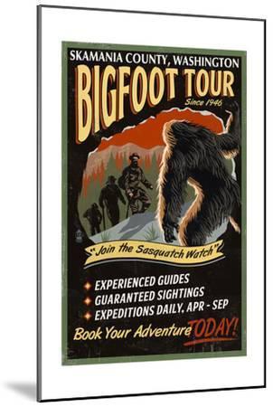 Skamania County, Washington - Bigfoot Tours - Vintage Sign-Lantern Press-Mounted Art Print