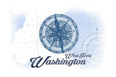 West Port, Washington - Compass - Blue - Coastal Icon-Lantern Press-Framed Art Print