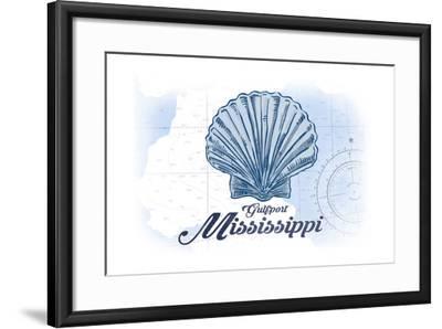 Gulfport, Mississippi - Scallop Shell - Blue - Coastal Icon-Lantern Press-Framed Art Print