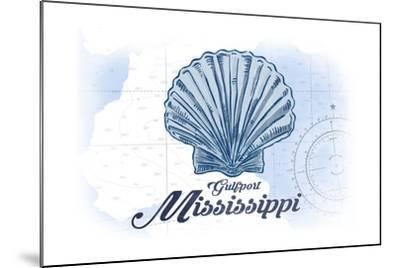 Gulfport, Mississippi - Scallop Shell - Blue - Coastal Icon-Lantern Press-Mounted Art Print