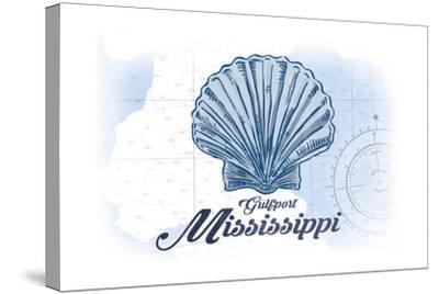 Gulfport, Mississippi - Scallop Shell - Blue - Coastal Icon-Lantern Press-Stretched Canvas Print