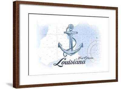 New Orleans, Louisiana - Anchor - Blue - Coastal Icon-Lantern Press-Framed Art Print