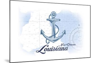 New Orleans, Louisiana - Anchor - Blue - Coastal Icon-Lantern Press-Mounted Art Print