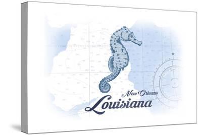 New Orleans, Louisiana - Seahorse - Blue - Coastal Icon-Lantern Press-Stretched Canvas Print
