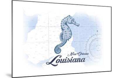 New Orleans, Louisiana - Seahorse - Blue - Coastal Icon-Lantern Press-Mounted Art Print