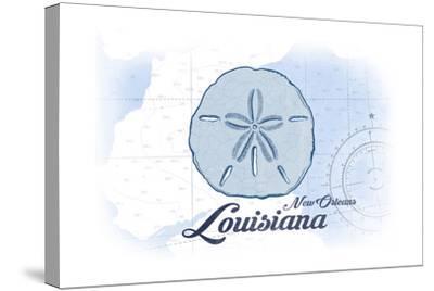 New Orleans, Louisiana - Sand Dollar - Blue - Coastal Icon-Lantern Press-Stretched Canvas Print