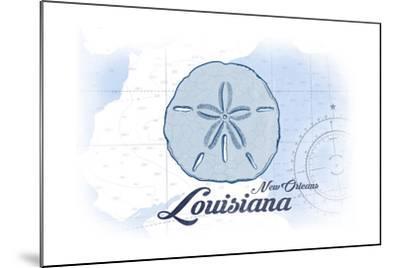 New Orleans, Louisiana - Sand Dollar - Blue - Coastal Icon-Lantern Press-Mounted Art Print