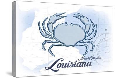 New Orleans, Louisiana - Crab - Blue - Coastal Icon-Lantern Press-Stretched Canvas Print