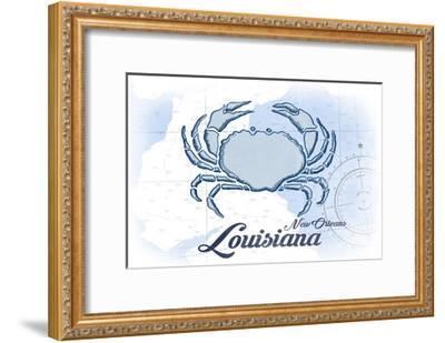New Orleans, Louisiana - Crab - Blue - Coastal Icon-Lantern Press-Framed Art Print