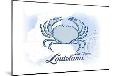 New Orleans, Louisiana - Crab - Blue - Coastal Icon-Lantern Press-Mounted Art Print