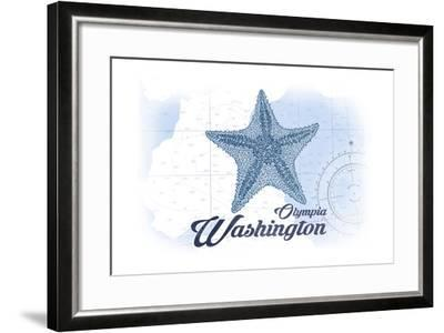 Olympia, Washington - Starfish - Blue - Coastal Icon-Lantern Press-Framed Art Print