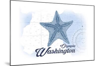Olympia, Washington - Starfish - Blue - Coastal Icon-Lantern Press-Mounted Art Print