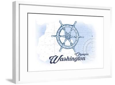 Olympia, Washington - Ship Wheel - Blue - Coastal Icon-Lantern Press-Framed Art Print