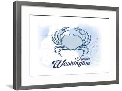 Olympia, Washington - Crab - Blue - Coastal Icon-Lantern Press-Framed Art Print