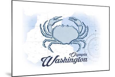 Olympia, Washington - Crab - Blue - Coastal Icon-Lantern Press-Mounted Art Print