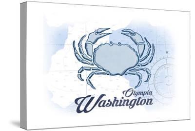 Olympia, Washington - Crab - Blue - Coastal Icon-Lantern Press-Stretched Canvas Print