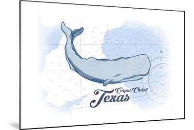 Corpus Christi, Texas - Whale - Blue - Coastal Icon-Lantern Press-Mounted Art Print