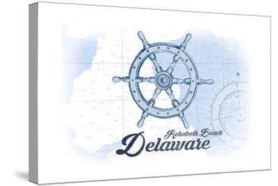 Rehoboth Beach, Delaware - Ship Wheel - Blue - Coastal Icon-Lantern Press-Stretched Canvas Print