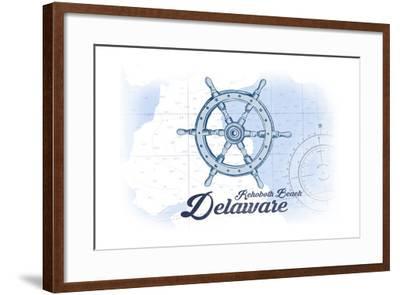 Rehoboth Beach, Delaware - Ship Wheel - Blue - Coastal Icon-Lantern Press-Framed Art Print