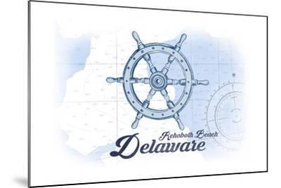 Rehoboth Beach, Delaware - Ship Wheel - Blue - Coastal Icon-Lantern Press-Mounted Art Print