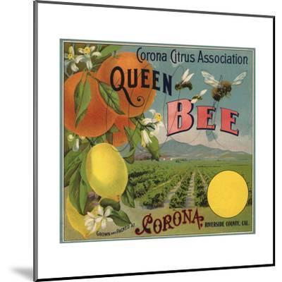 Queen Bee Brand - Corona, California - Citrus Crate Label-Lantern Press-Mounted Premium Giclee Print