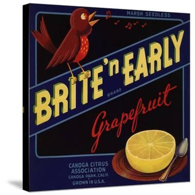 Bright n Early Brand - Canoga Park, California - Citrus Crate Label-Lantern Press-Stretched Canvas Print