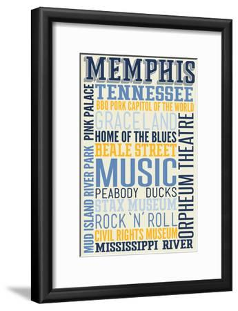 Memphis, Tennessee - Typography-Lantern Press-Framed Art Print