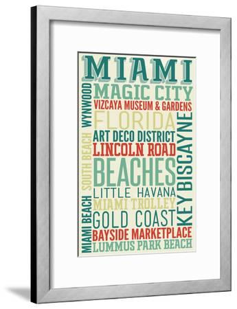 Miami, Florida - Typography-Lantern Press-Framed Art Print