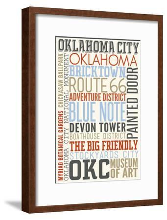 Oklahoma City, Oklahoma - Typography-Lantern Press-Framed Art Print
