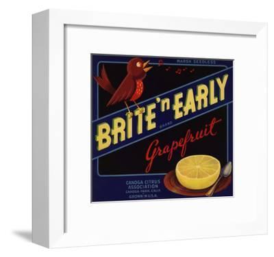 Bright n Early Brand - Canoga Park, California - Citrus Crate Label-Lantern Press-Framed Art Print