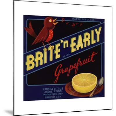 Bright n Early Brand - Canoga Park, California - Citrus Crate Label-Lantern Press-Mounted Art Print