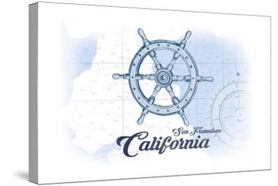 San Francisco, California - Ship Wheel - Blue - Coastal Icon-Lantern Press-Stretched Canvas Print