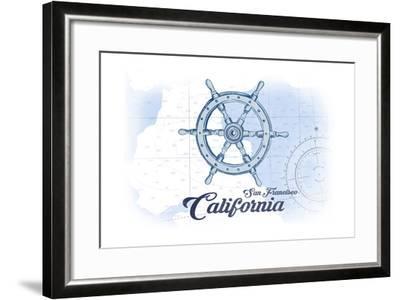 San Francisco, California - Ship Wheel - Blue - Coastal Icon-Lantern Press-Framed Art Print