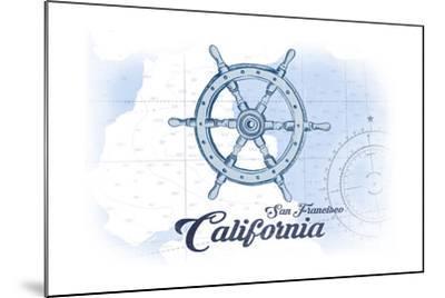 San Francisco, California - Ship Wheel - Blue - Coastal Icon-Lantern Press-Mounted Art Print
